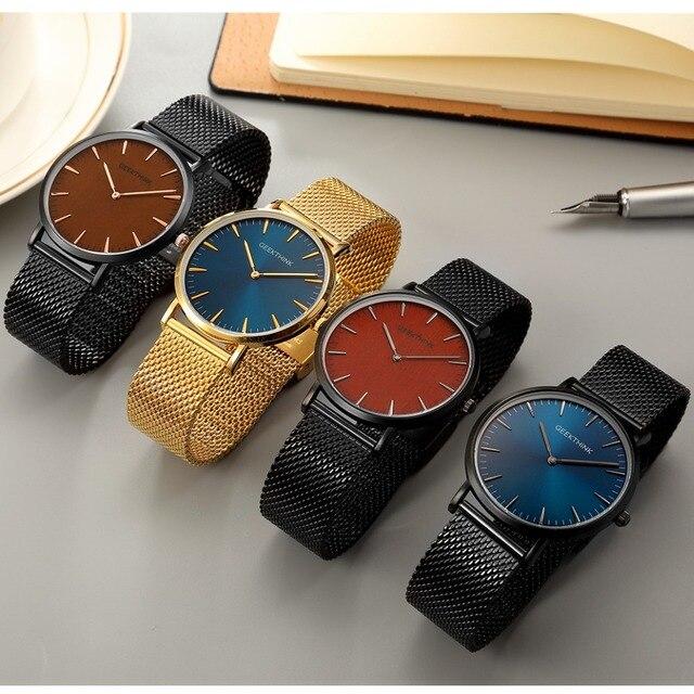 Top Brand Luxury Quartz Watch men Casual Black Japan quartz-watch stainless steel Wooden Face ultra thin clock male Relogio New