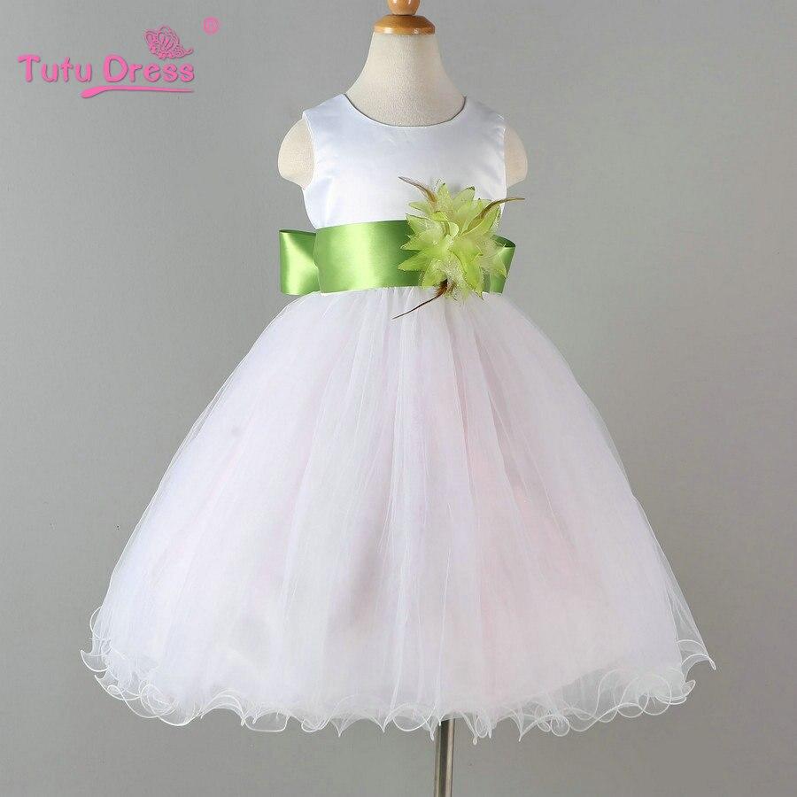 Blanco Vestido de Niña de las Flores de Pétalos Vestido de Los Niños Niño Elegan