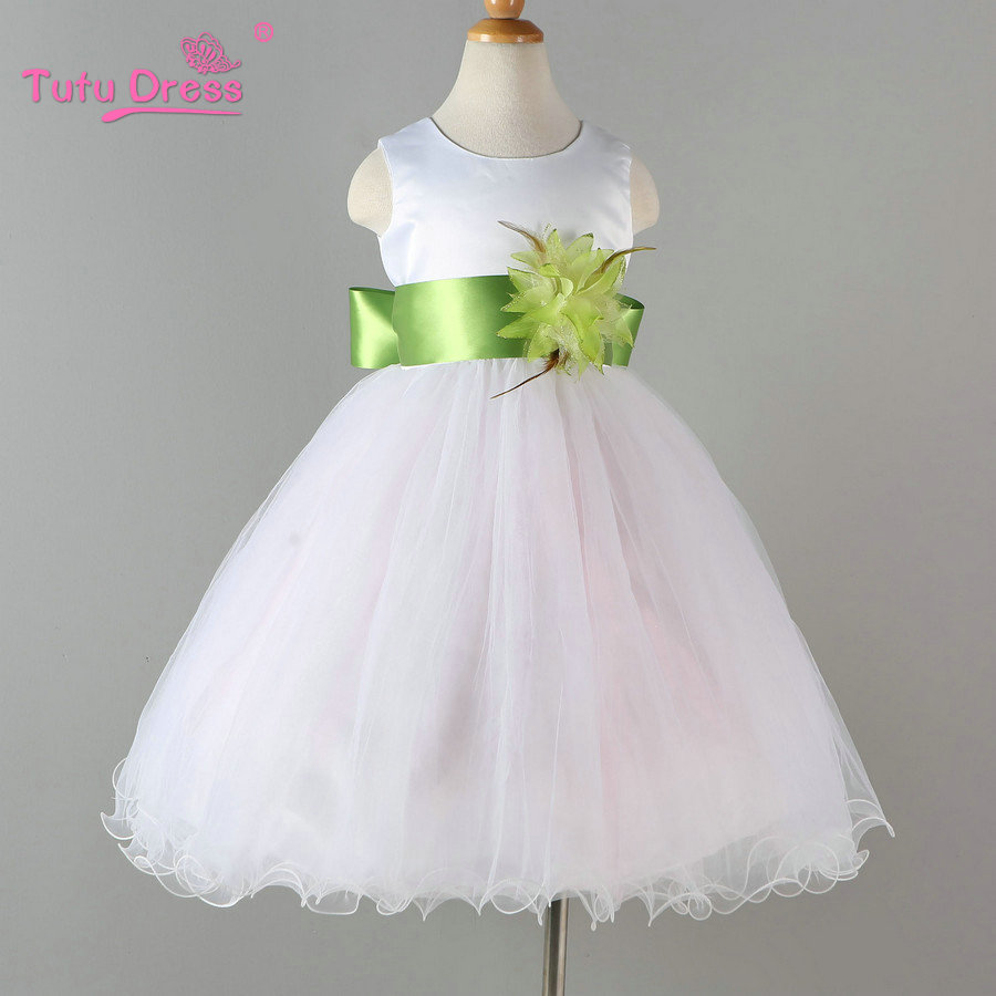 White Flower Girl Petals Dress Pageant Bröllop Bridal Dress Barn Bridesmaid Toddler Elegant Dress