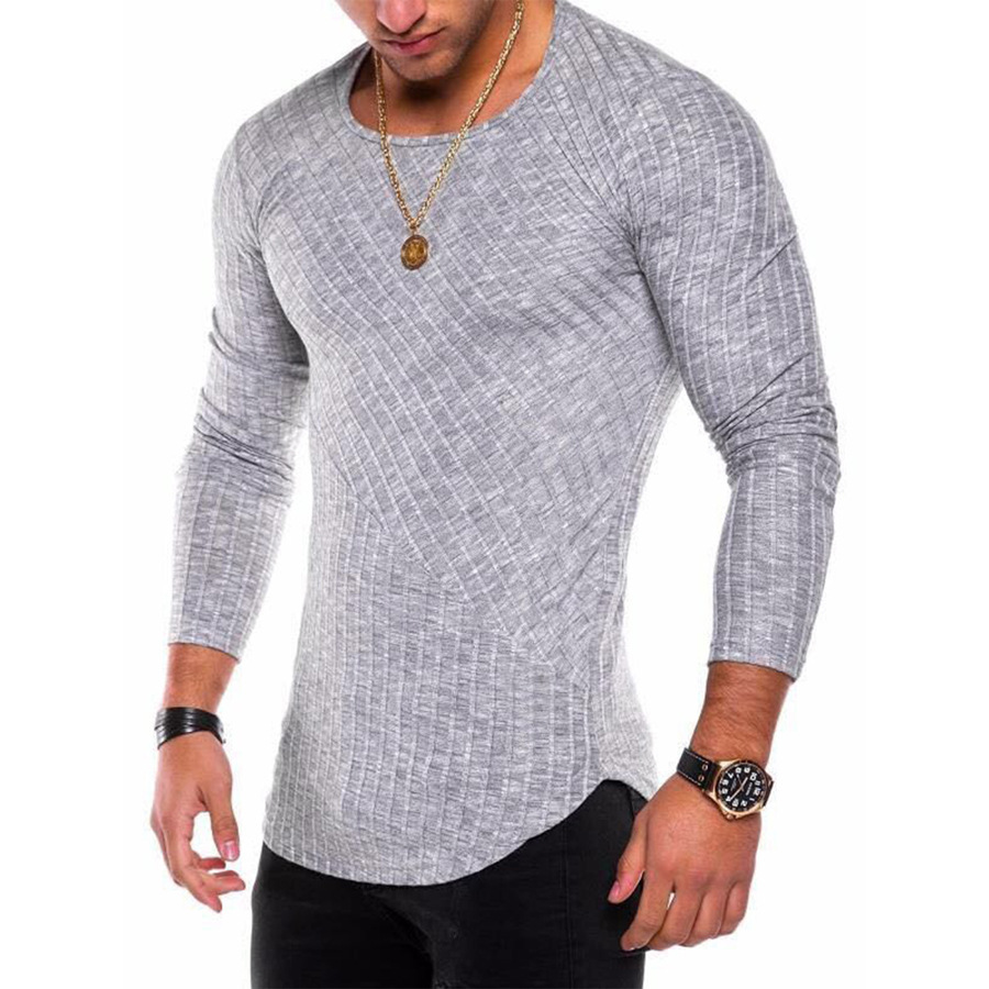 2018 Nuovi uomini Sexy T shirt A Manica Lunga O collo Slim Fit T-Shirt Maschio di Colore Solido Streetwear Hip Hop High Street Tops