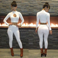 Spring Hot Selling Women White Bodycon Jumpsuit Sexy Playsuit Bodysuit Top And Pants Two Piece Outfit Club Wear Size S M L