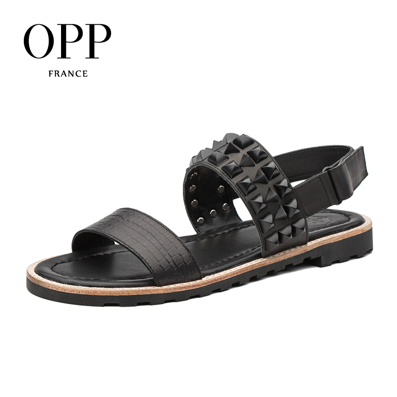 OPP 2018 Hook & Loop Sandals Flip Flops Summer Mens Genuine Leather Flip Flops Flat Sandals Shoes For men Beach Sandals Men