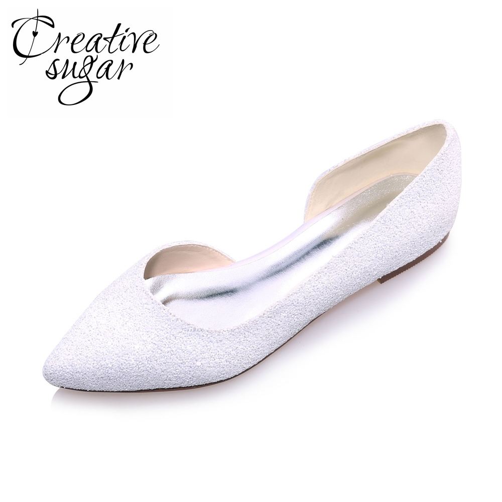 Creativesugar Elegant 3D Glitter Pointed Toe White Ivory D'orsay Flats Woman Casual Wedding Bridal Shoes Party Prom Slip On Flat