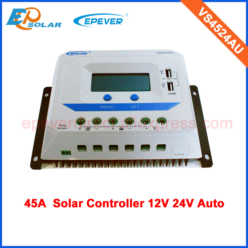 45A 45amp EPsolar PWM Regulator lcd display solar panel Battery 12v 24v auto work VS4524AU 20a 12 24v solar regulator with remote meter for duo battery charging