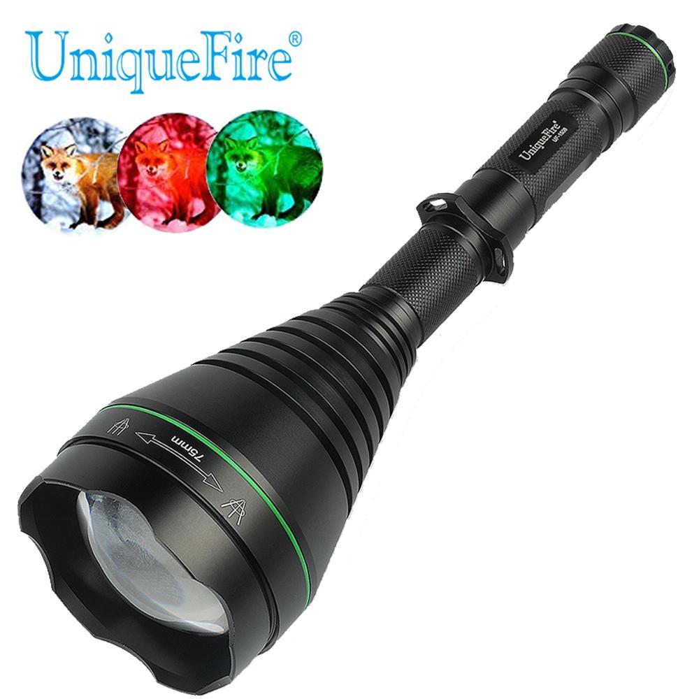 Yeni Arival Renkli Avcılık Zumlanabilir Feneri Uniquefire 1508-75mm XRE LED 3 Modu Yeşil/Kırmızı/Beyaz Avcılık Için ışık