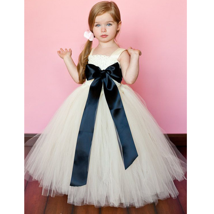 Flower Girl Pageant Vestidos Square Neckline Sleeveless Girl Prom Dress Bow Sash Tutu Tulle Ball Gowns  With Turquoise Sash charming multilayered faux pearl rhinestone necklace for women