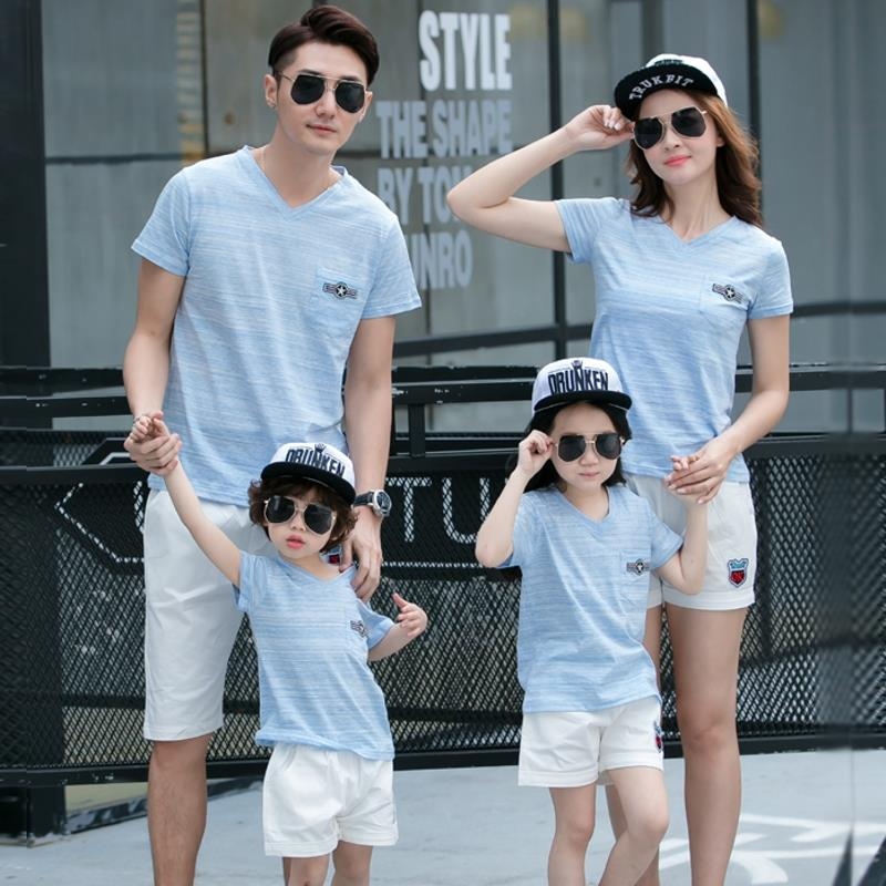 Free Shipping Family matching outfits summer family look clothes sports Boys Girls family Modal Slub cottonT shirts Pants sets