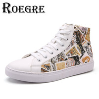 ROEGRE Luxury Brand Stamp Printed Men High Top Fashion Shoes With Zip PU Leather Waterproof Men