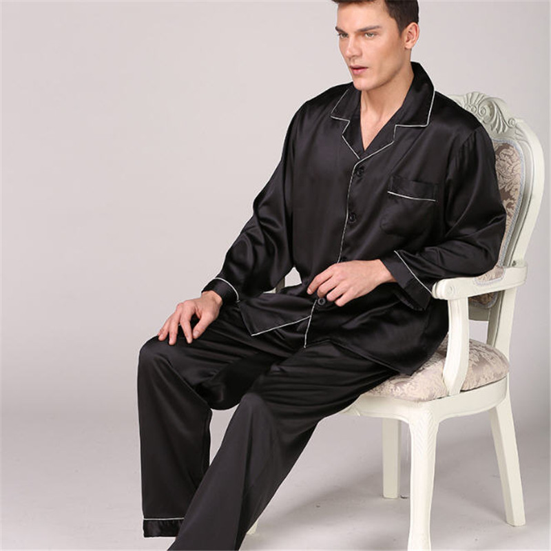Men's Stain Silk Pajama Set Men Pajamas Silk Sleepwear Long Sleeves Home Clothing Pijamas Soft Cozy Satin Nightgown Spring