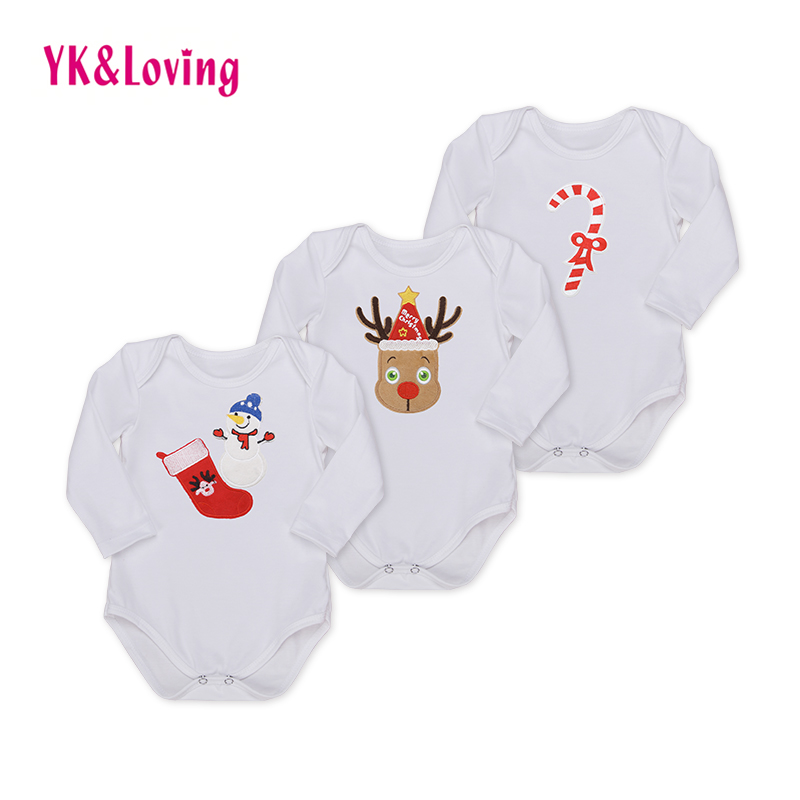 Christmas Style Baby Boys Rompers High Quality Spring Autumn Baby Girls Clothes Long Sleeve Clothing White Cotton Outfits R128L baby rompers 2016 spring autumn style overalls star printing cotton newborn baby boys girls clothes long sleeve hooded outfits