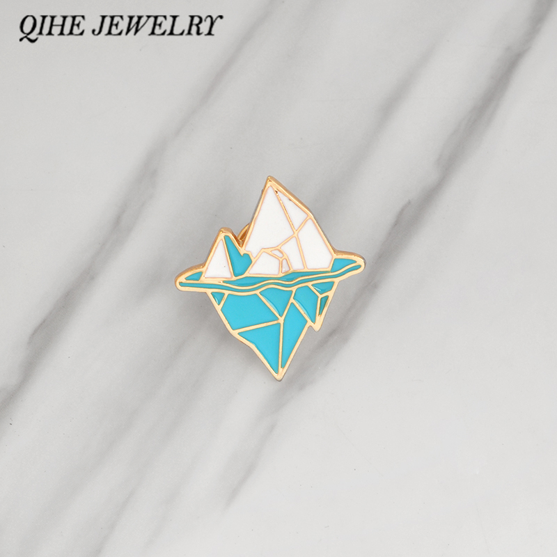 QIHE JEWELRY Brooches & pins Iceberg button badge Geometric nature pins Cartoon clothing bag hat backpack brooches jewelry