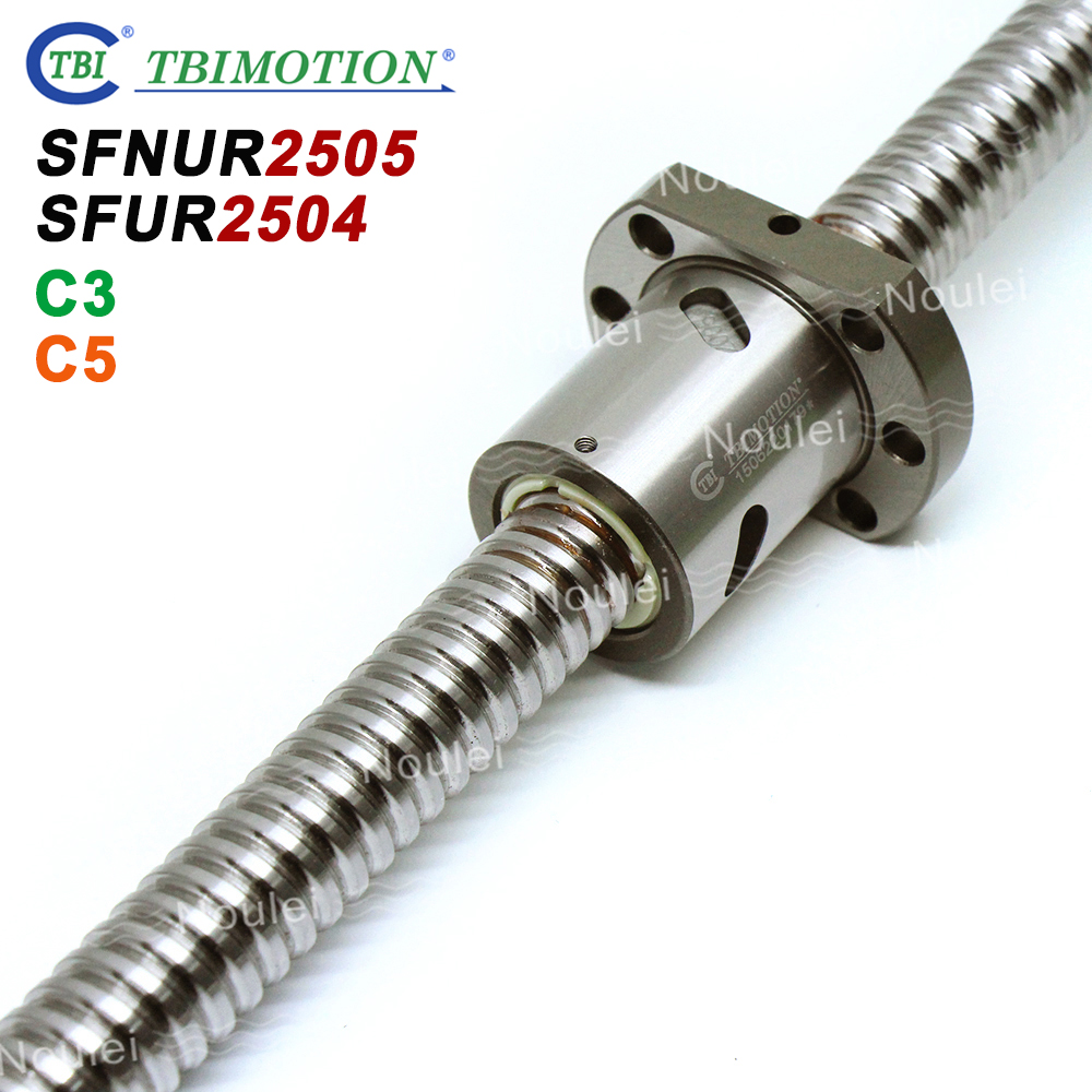 TBI SFU 2505 C3 C5 Ball screw 5mm lead with SFUR2505 SFUR2504 Double Ballnut CNC anti