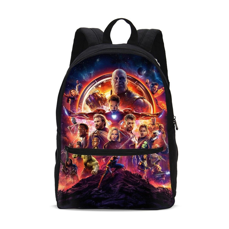 Canvas Backpacks For Boys Girls Marvel Avengers Infinity War Super Hero 3D Printing School Bag Children