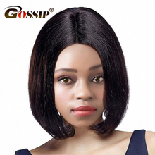 Gossip Brazilian Straight Short Wigs For Black Women 150 Density Lace Front Human Hair Bob Wigs 6 inch Swiss Lace Wig Non Remy