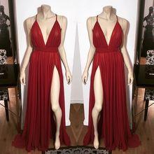 2017 Sexy Hot Abendkleid Abendkleid A-linie Burgund Abendkleid kleider V-ausschnitt Seitenschlitz Split Chiffon-Lange Abschlussball-partei-kleid kleid