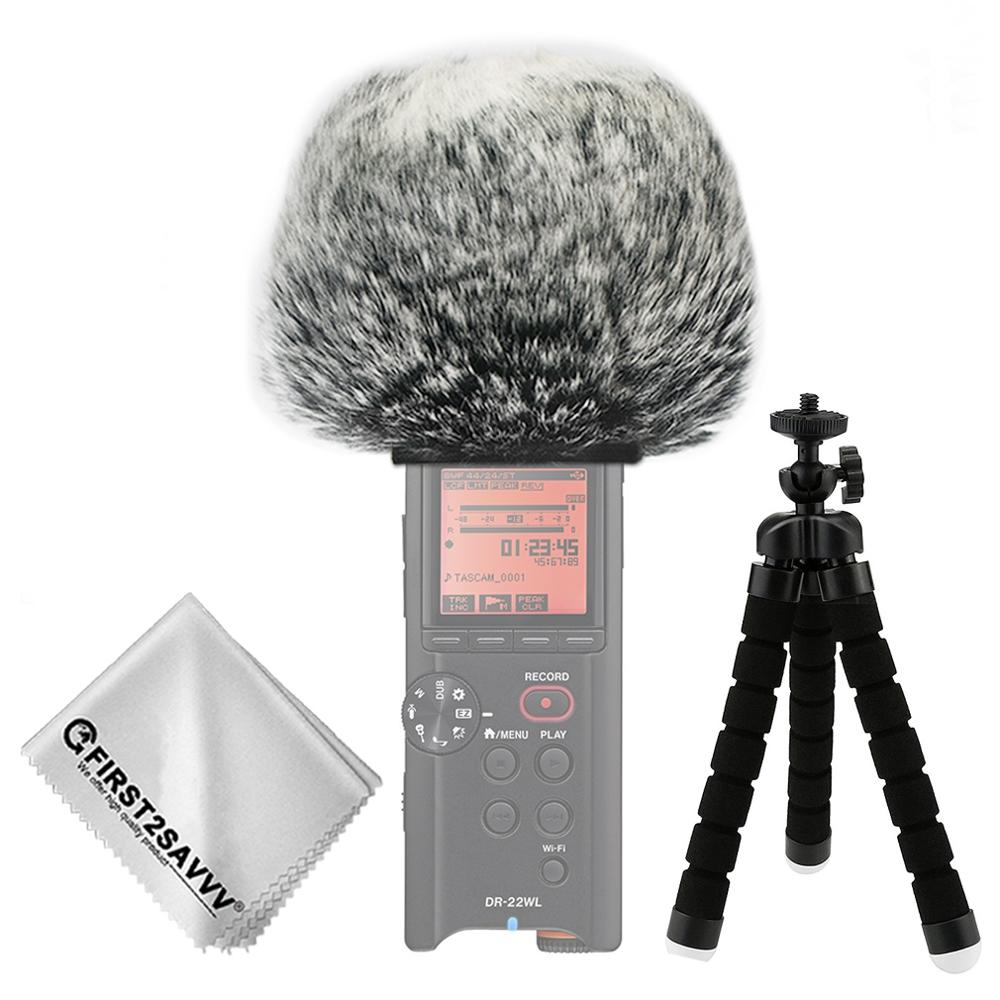 Outdoor Portable Digital Recorders Furry Microphone Mic Windscreen Wind Muff For Tascam DR-22WL DR22 WL DR07 DR 07 + Mini Tripod