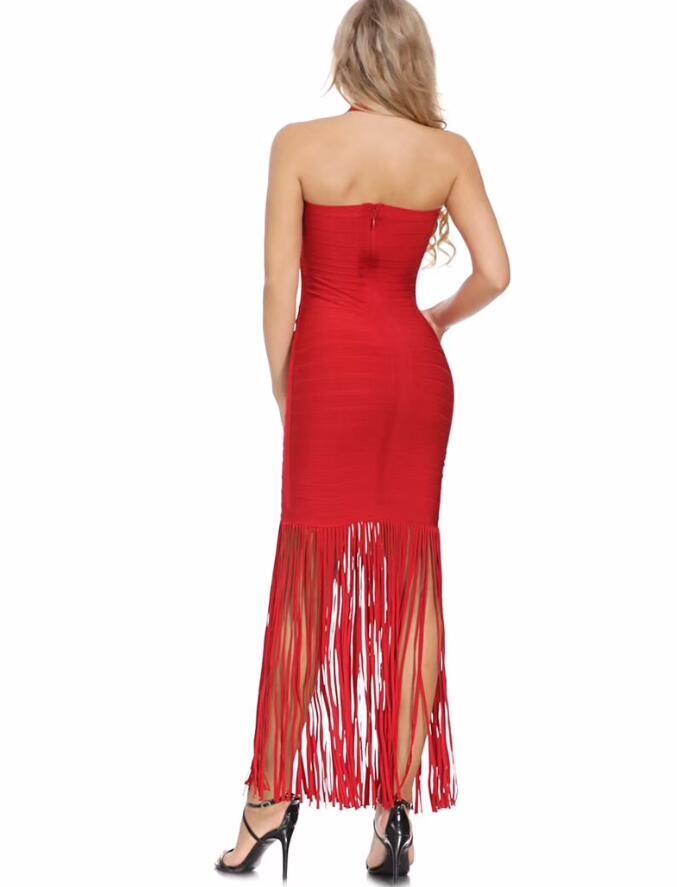 rouge Partie Nu Dos Bandage Longue Qualité Robe Halter Noir Femmes Designer Gland Top Sexy Élégante Dames Noir 0wOaxSqO1W