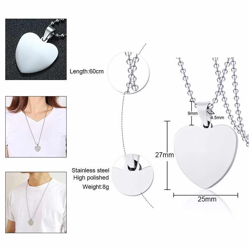 "Vnox Stainelss Steel Round Dog Tag Women Men Necklaces Silver Unisex Simple Casual Pendant with 24"" Beads Chain"