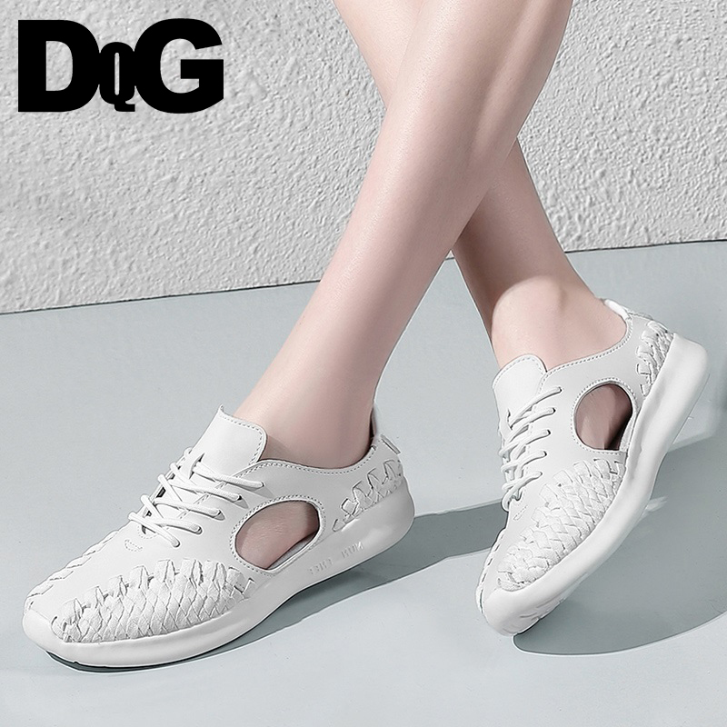 DQG 2018 Summer Women Shoes Flats Woven Zapatos Mujer Solid white Lace Up Chaussures Femme Shallow Breathable Female Sneakers