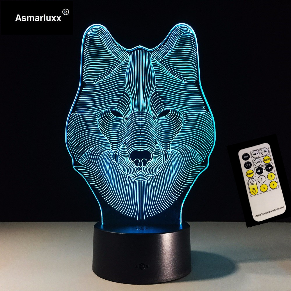 7 Color Wolf Lamp 3D Visual Led Night Lights for Kids Touch USB Table Lampara Lamp Baby Sleeping Nightlight Remote/Touch Control