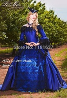 Custom Made Movie Theater&Period Dress Blue Gothic Romantic Off Shoulder Fantasy Gothic Victorian Gown