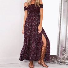 Summer Women's Vintage Dress Floral Print Off Shoulder Split Tube Long Party Maxi Boho Beach Dresses