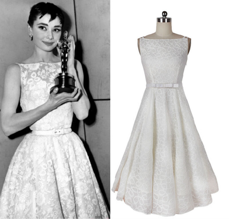 Vintage Dress Audrey Hepburn Style White A Line Bow Belt Lace Custom Made Women Clothing Tank Rockabilly Elegant In Dresses From S