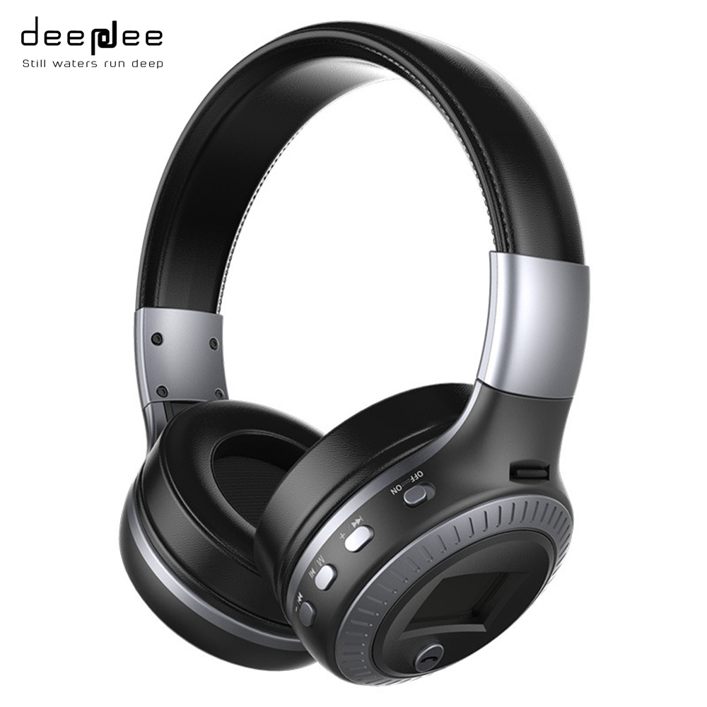 DEEPDEE HIFI Bass Bluetooth Headphone Wireless Stereo Noise Cancelling Headset with LCD Display Microphone FM Radio TF Card Slot bioclon вибратор реалистичной формы с многоскоростной вибрацией