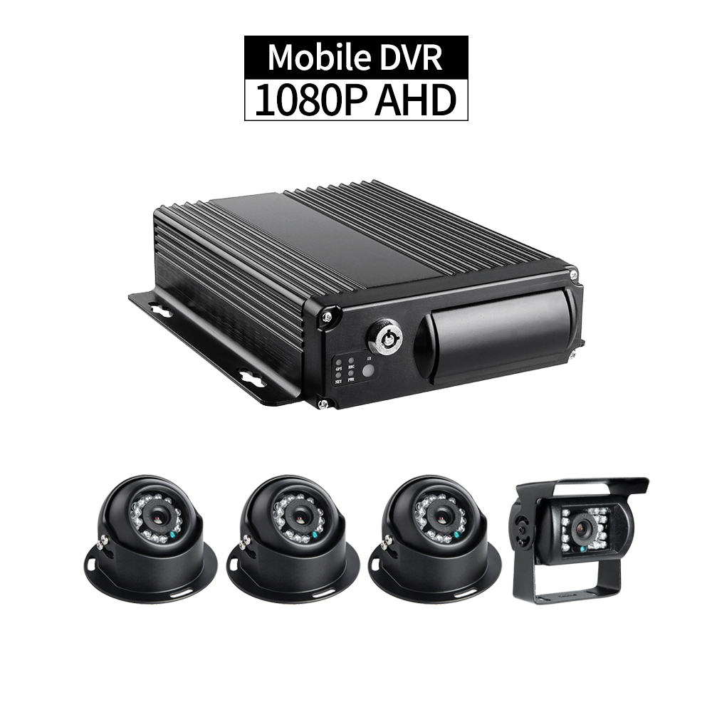 AHD Car Mobile DVR Kit,4CH 1080P Dual SD 256G Cycle Recording with 3pcs Indoor Camera 1pcs Rear Camera for Vehicle Bus Taxi ShipAHD Car Mobile DVR Kit,4CH 1080P Dual SD 256G Cycle Recording with 3pcs Indoor Camera 1pcs Rear Camera for Vehicle Bus Taxi Ship