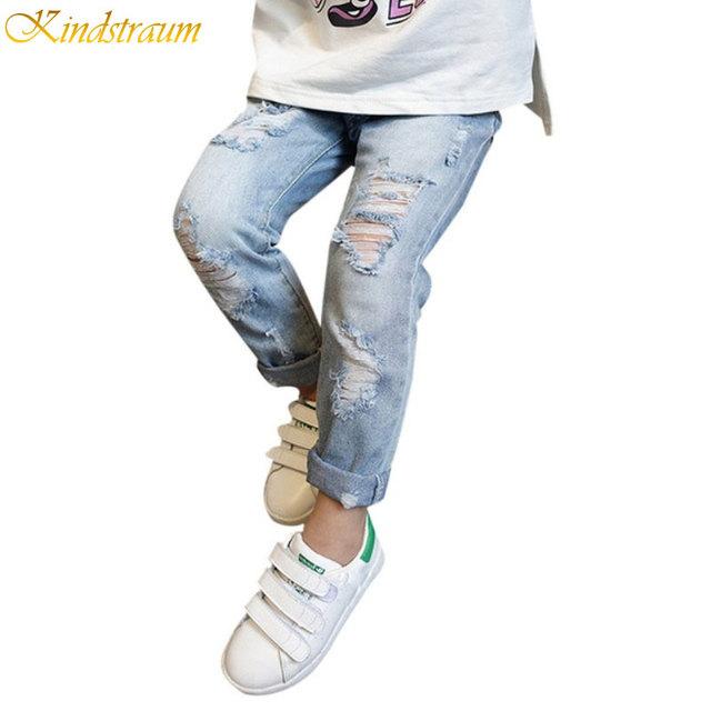 Kindstraum boys & girls ripped jeans spring & summer estilo 2016 tendência calças jeans para crianças dos miúdos calças distrressed, HC822