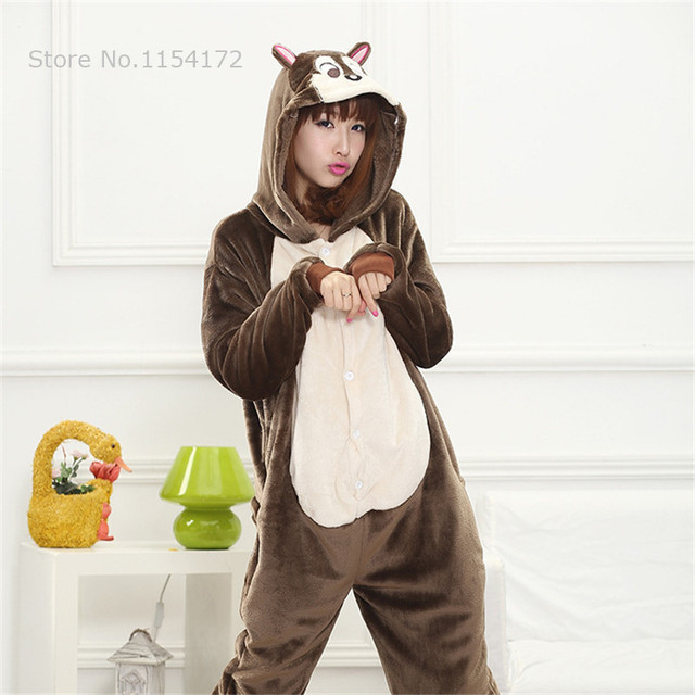 kigurumi squirrel cosplay onesies pajamas cartoon animal costume pyjamas adult onesies party dress halloween pijamas