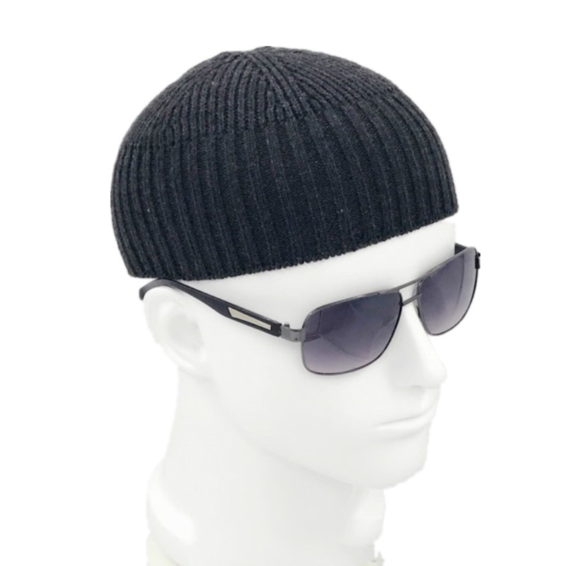 Image 2 - Men Knitted Hat Wool Blend Beanie Skullcap Cap Brimless Hip Hop Hats Casual Black Navy Grey Retro Vintage Fashion New 904 897-in Men's Skullies & Beanies from Apparel Accessories