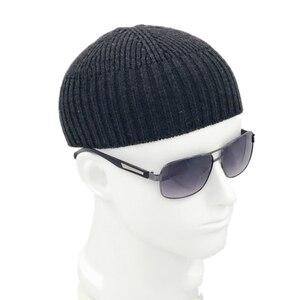 Image 2 - Men Knitted Hat Wool Blend Beanie Skullcap Cap Brimless Hip Hop Hats Casual Black Navy Grey Retro Vintage Fashion New 904 897