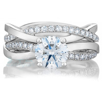 Brand Design Fashion Real 1ct Simulated Diamond 925 Sterling Silver 2 In 1 Engagement Wedding Ring