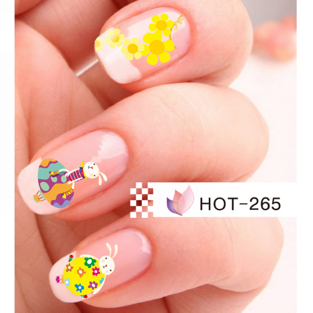 Uprettego Nail Art Beauty Water Decal Slider Nail Sticker Easter Egg