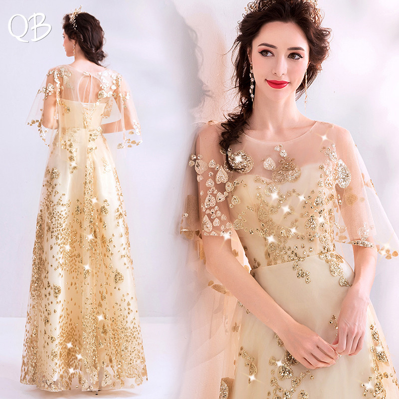 Golden A-line Sequins Tulle Beading Elegant Long Evening Dresses 2020 New Fashion Formal Evening Gowns XH411