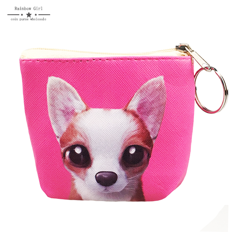2017 PU Lovely Dog Coin Purses Wallet for children Mini Bag Key Ring Zipper Wallet Pouch Change Purse wholesale Coin-holder