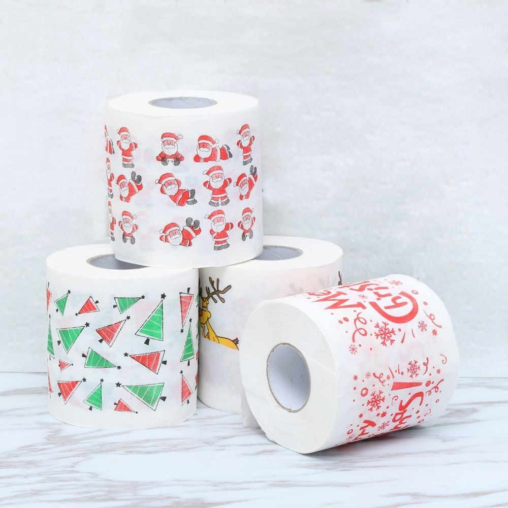 1Roll Santa Claus/Deer Merry Christmas Supplies Printed Toilet Paper Home Bath Living Room Toilet Paper Tissue Roll Xmas#10