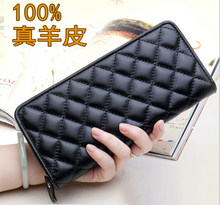 Free Shipping The new 2015 popular women's long wallet leather hand bag Sheepskin coin purse  lady handbags wallet lady holding the purse 2017 new leather long pure color wallet wallet hand bag