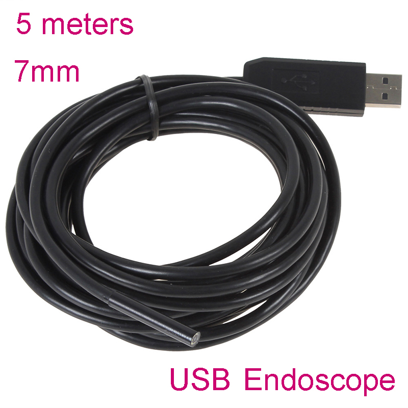 Gakaki 7MM 5M Mini Usb Endoscope Endoscoop Camera 6 LED Underwater Borescope Inspection Camera  Micro-cameras For Windows PC eyoyo nts200 endoscope inspection camera with 3 5 inch lcd monitor 8 2mm diameter 2 meters tube borescope zoom rotate flip