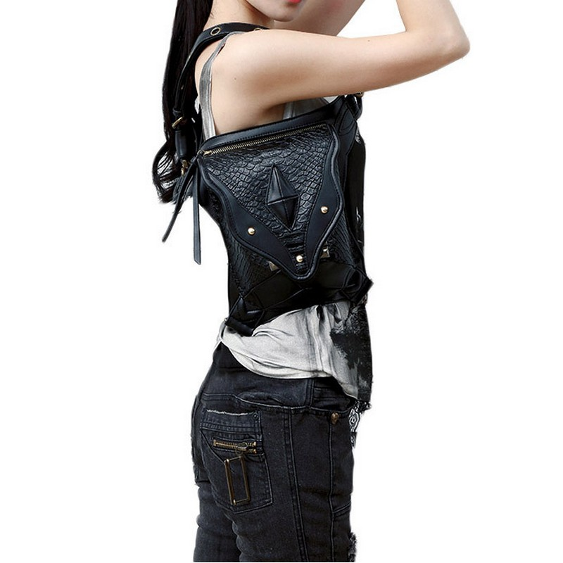 2017Waist Bag Exclusive Retro Rock Gothic Bag Packs Shoulder Bag Vintage Men Women Leather Leg Bag waist bag