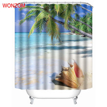 WONZOM Sea Shell Shower Curtains With 12 Hooks Modern Landscape Waterproof  Curtain For Mildewproof 2017 Bathroom