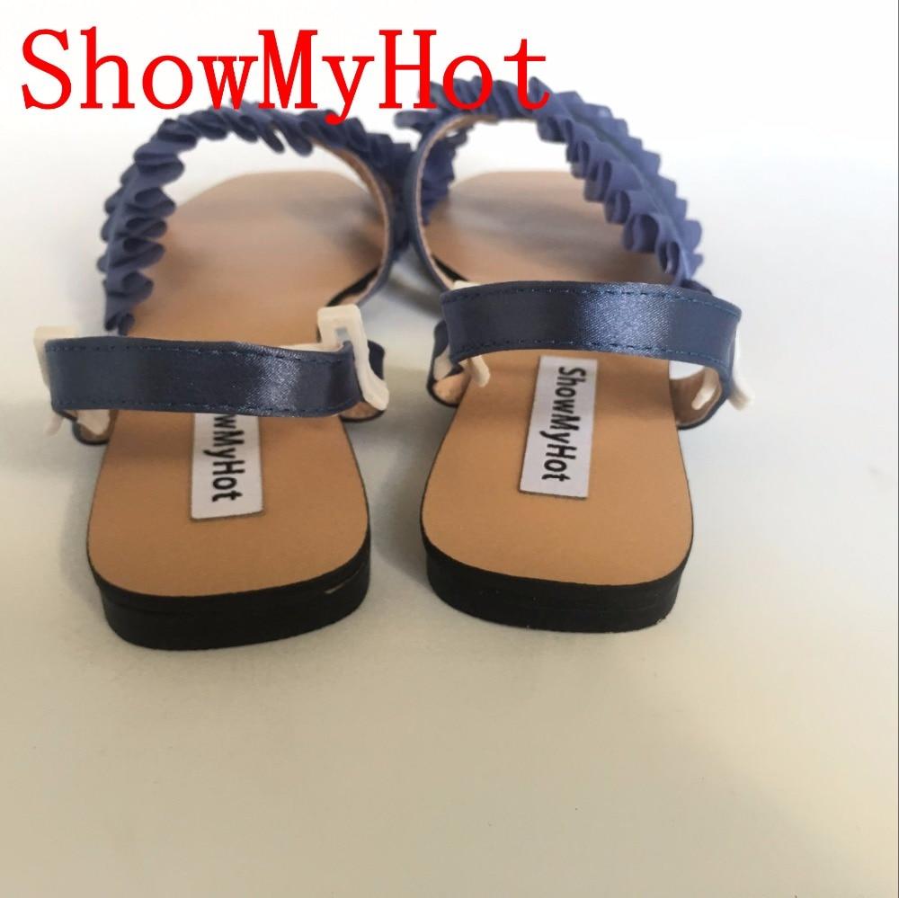 Femmes Gland Conception Zapatos Noir Showmyhot Chanvre Dame Sandales Mujer À Chaussures Bride blanc Canne La Cheville Tissu D'été Bleu Plat FgFXw