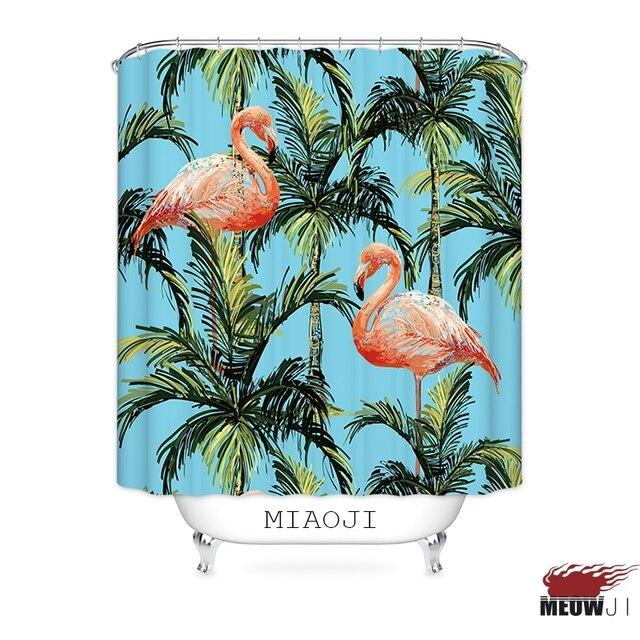 Miaoji Flamingos Vogels Gedrukt Dier Patroon Polyester Badkamer