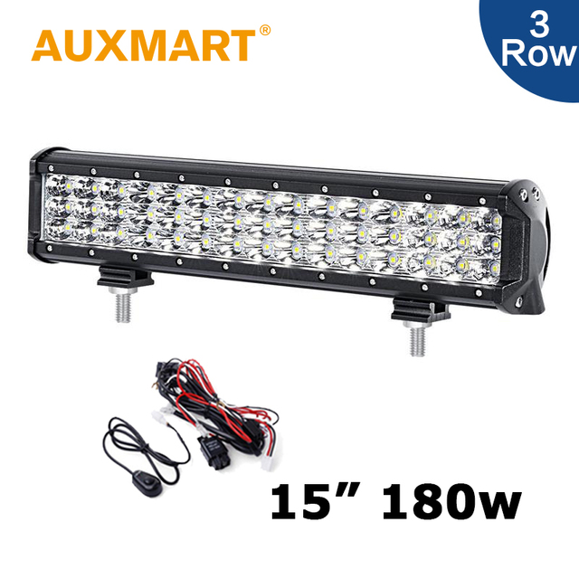 Auxmart 180W 15 inch LED Work Light Bar 3 Row 6D Combo Beam Offroad ...