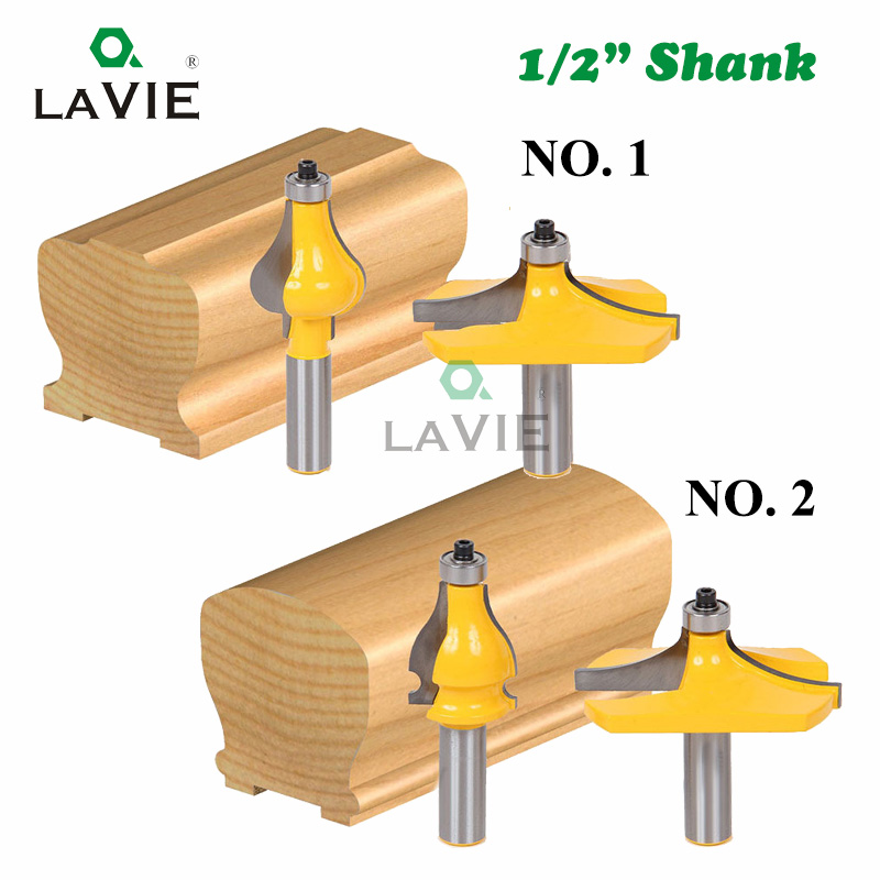 2pcs 12 12.7mm Shank Armrest Mill Handrail Router Bits Set Wavy Flute Tenon Milling Cutter For Wood Woodworking Cutters MC03046