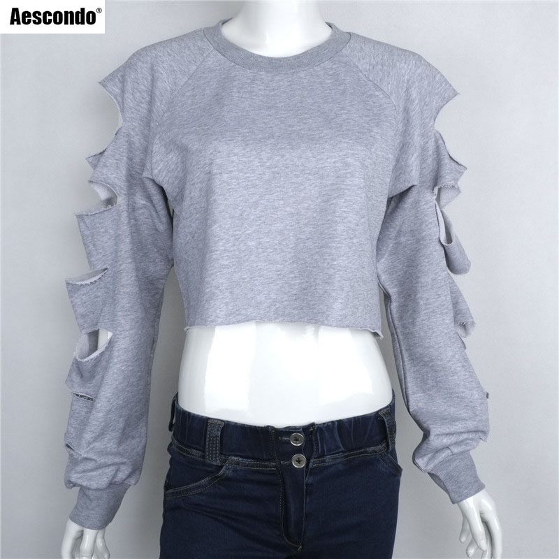 Aescondo New 2017 Spring Fashion Ripped Sleeves Short Crop Tops Sweatshirt Woman European Slit Sleeved Cropped Sweat Suits