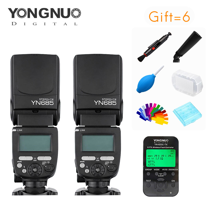 YONGNUO 2 pieces YN685+YN622TX Kit GN60 2.4G System ETTL  1/8000s HSS Wireless Flash Speedlite with Slave for Canon or Nikon yongnuo yn685 yn 685 беспроводной доступ в эти speedlite флэш построить в ttl приемник работает с yn622c yn622ii c yn622c tx yn560iv yn560 tx