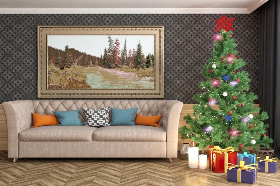 Laeacco Room Interior Sofa Christmas Tree Gifts