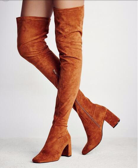 Sexy Stretch Flock Skim Thigh High Heel Boots beautiful Over the Knee Boots for Women High Heel Shoes Woman 2017 Winter Boots